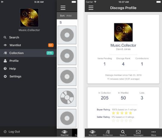 Capture d'écran Discogs iOS