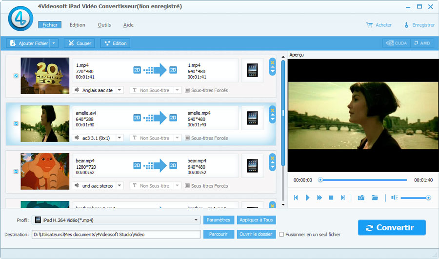 Capture d'écran 4Videosoft iPad Vidéo Convertisseur