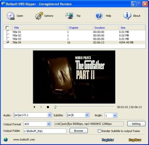 Capture d'écran Boilsoft DVD Ripper