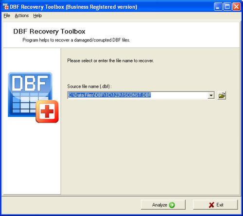 Capture d'écran DBF Recovery Toolbox