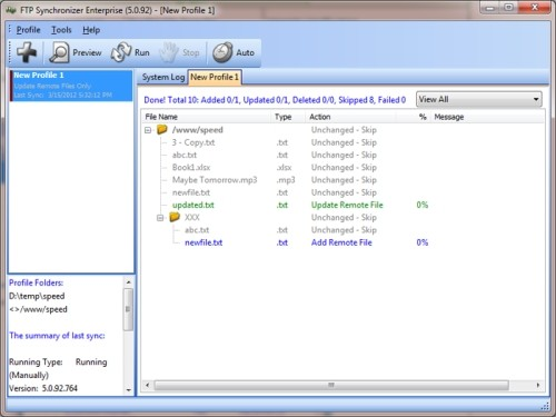 Capture d'écran FTP Synchronizer