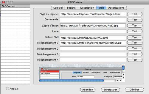 Capture d'écran PADCreateur