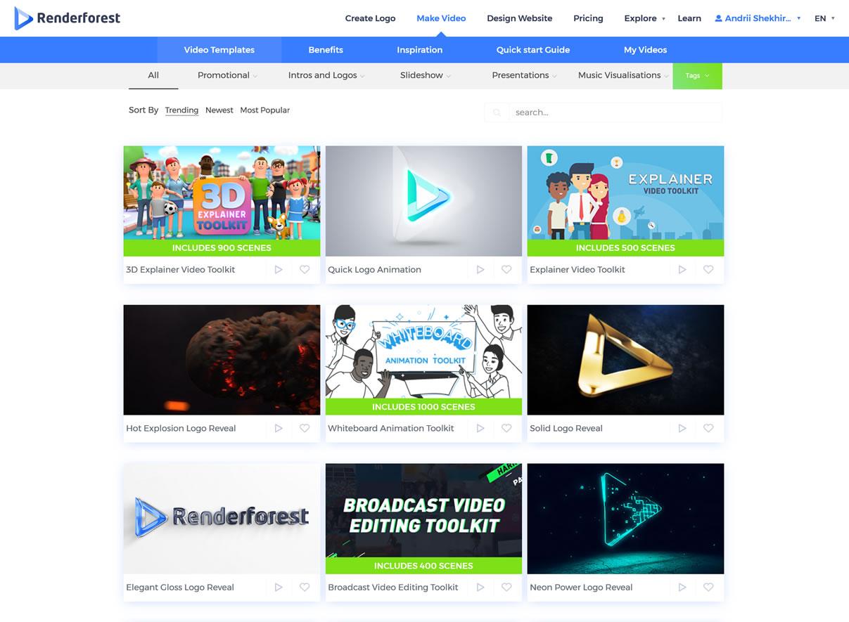 Capture d'écran RenderForest