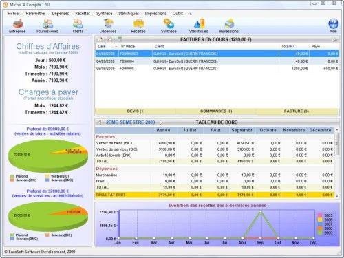 Capture d'écran MicroCA Compta – Auto et Micro Entrepreneur