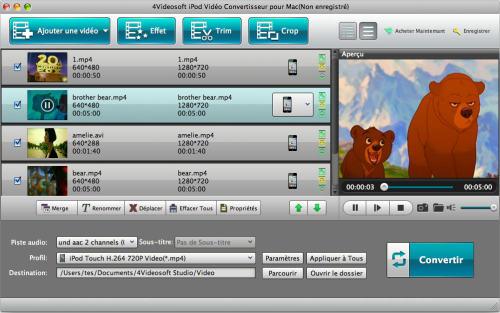 Capture d'écran 4Videosoft iPod Vidéo Convertisseur pour Mac