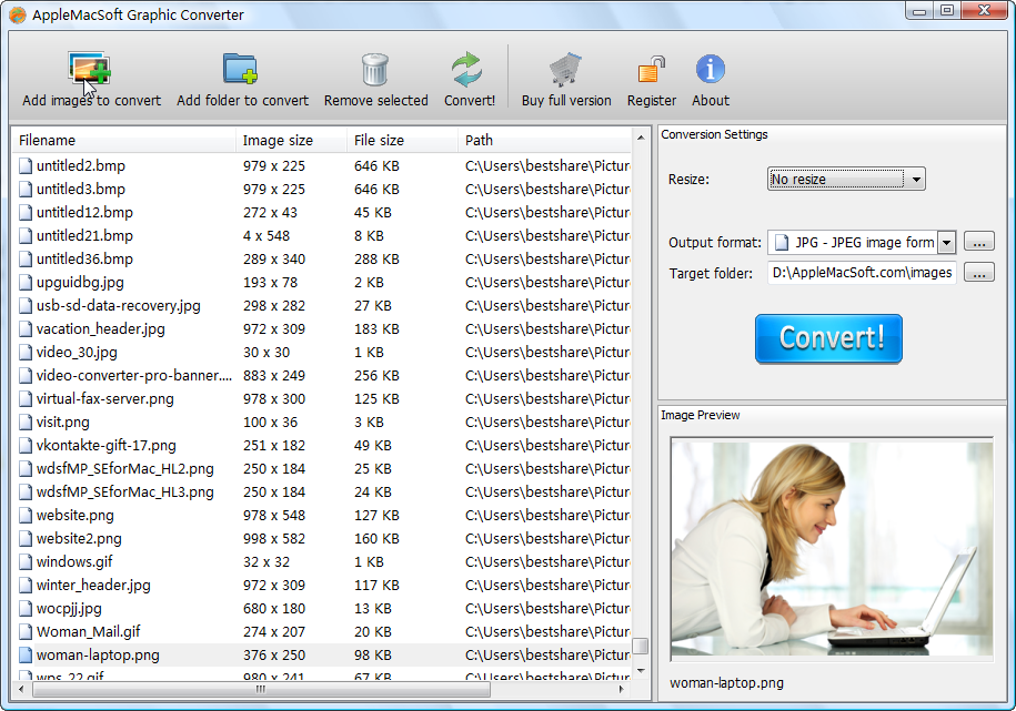 Capture d'écran AppleMacSoft Graphic Converter