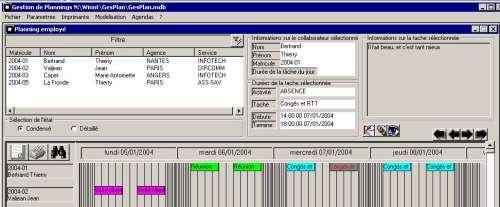 Capture d'écran Planning Manager