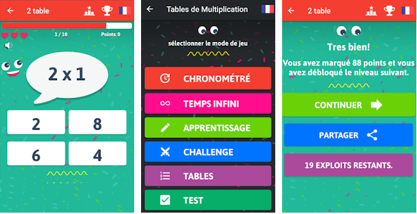Capture d'écran Jeu de table de multiplication Android