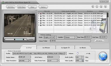 Capture d'écran Alldj DVD To iPhone iPod Apple-TV Ripper