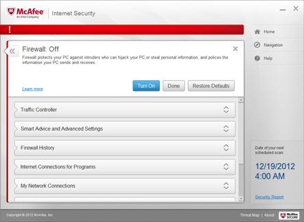 Capture d'écran McAfee Internet Security