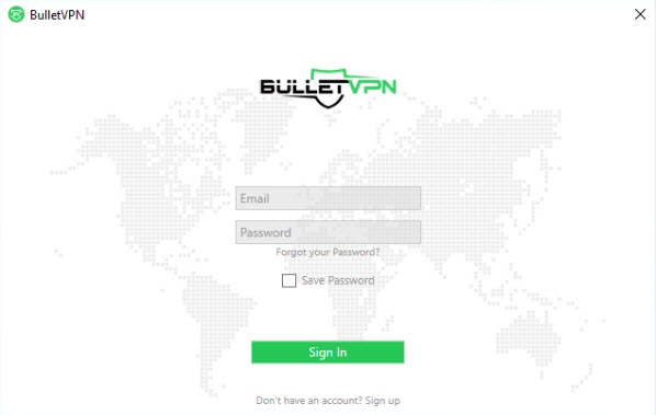 Capture d'écran BulletVPN