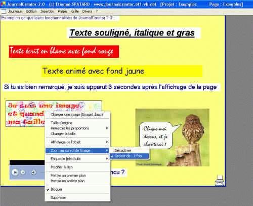 Capture d'écran JournalCreator