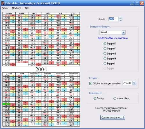 Capture d'écran Calendrier Automatique