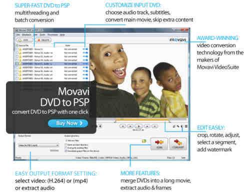Capture d'écran Movavi DVD to PSP