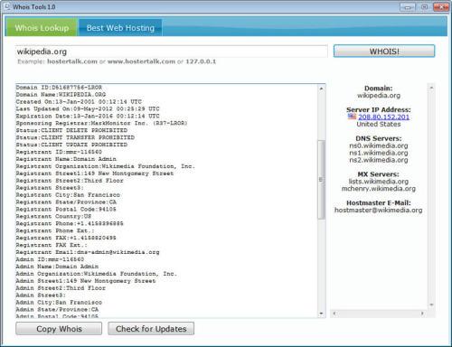 Capture d'écran Whois Tools
