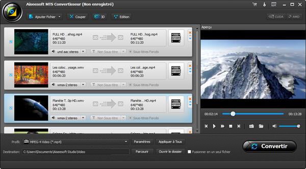 Capture d'écran Aiseesoft MTS Convertisseur