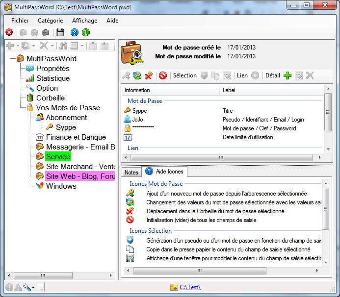 Capture d'écran MultiPassWord freeware