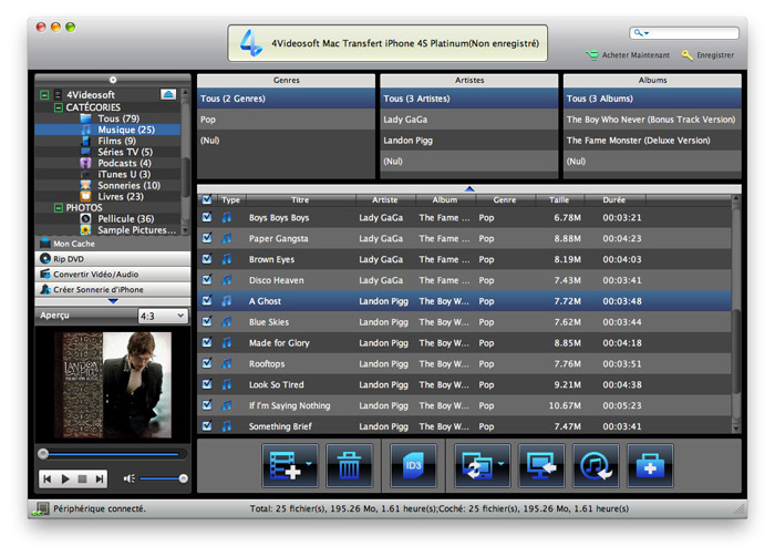 Capture d'écran 4Videosoft Mac Transfert iPhone 4S Platinum