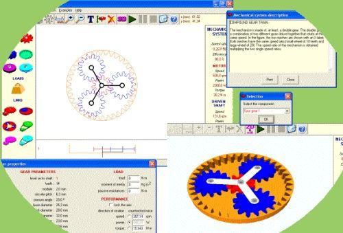 Capture d'écran Simulateur de mécanismes