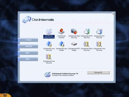Capture d'écran DiskInternals Boot CD