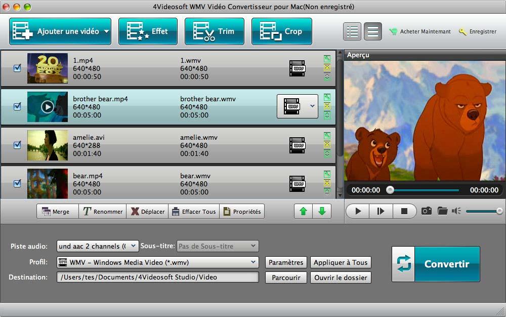 Capture d'écran 4Videosoft WMV Vidéo Convertisseur pour Mac