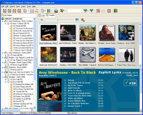 Capture d'écran Collectorz.com Music Collector