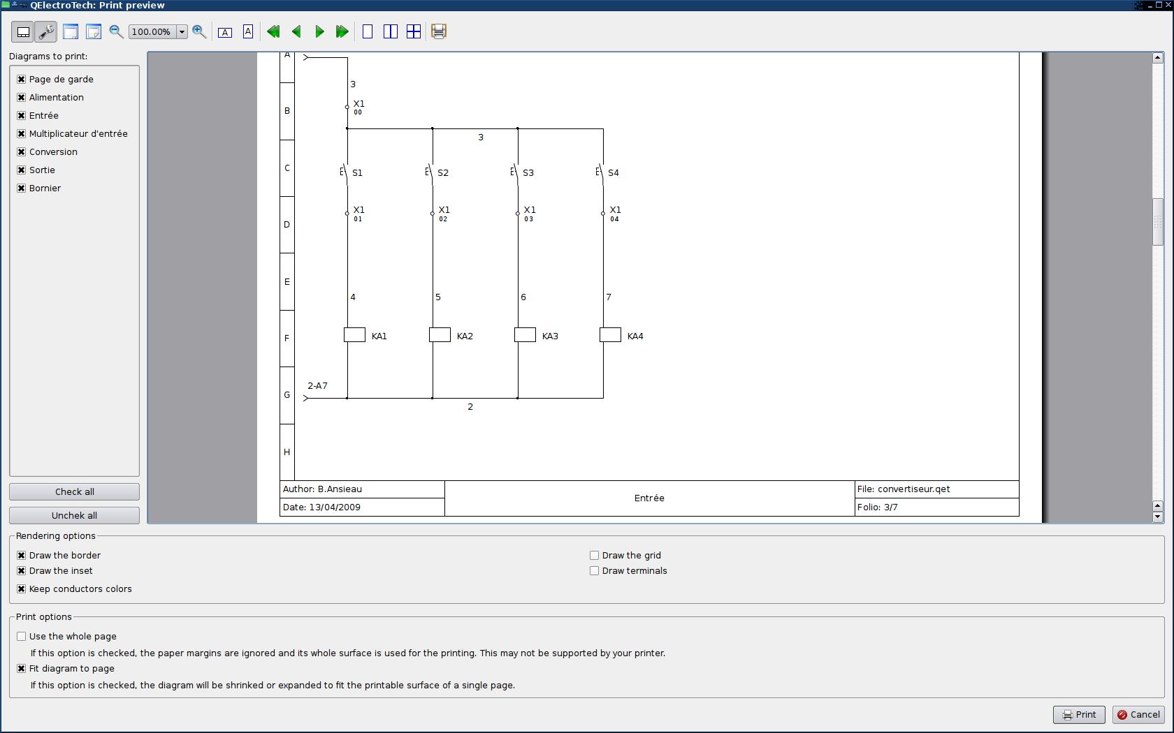Capture d'écran QElectrotech