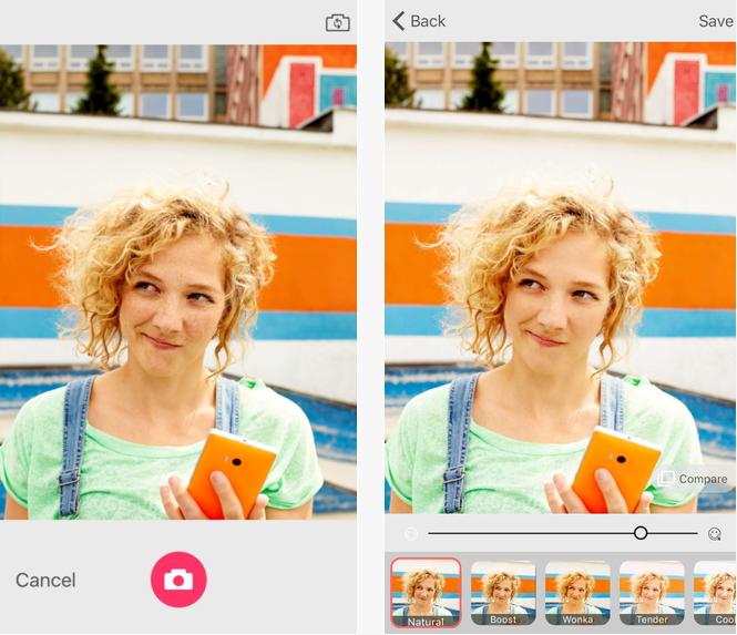 Capture d'écran Microsoft Selfie iOS
