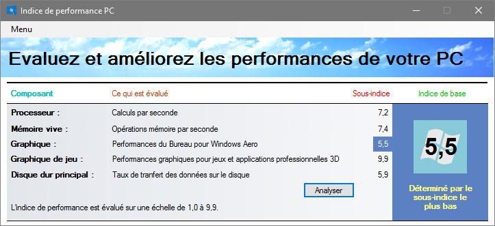 Capture d'écran Indice de performance PC