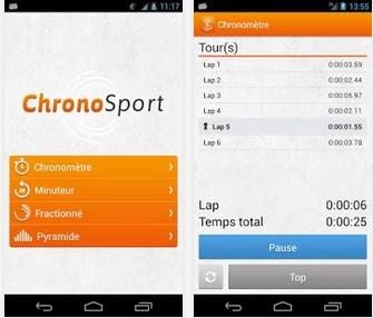 Capture d'écran ChronoSport Android