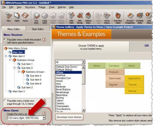 Capture d'écran AllWebMenus Accessible Menu 508 Addin