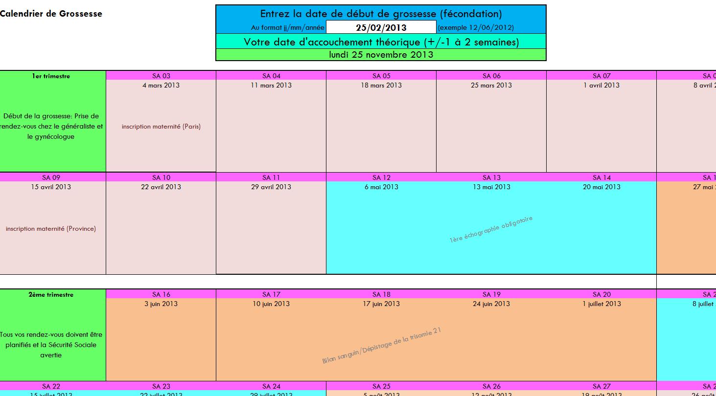 Capture d'écran Calendrier de grossesse Excel
