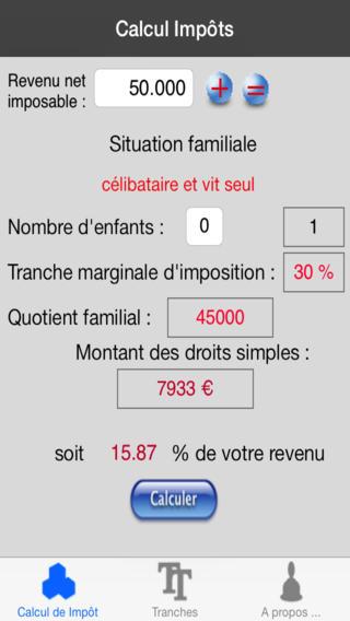 Capture d'écran Calcul Impôt iOS