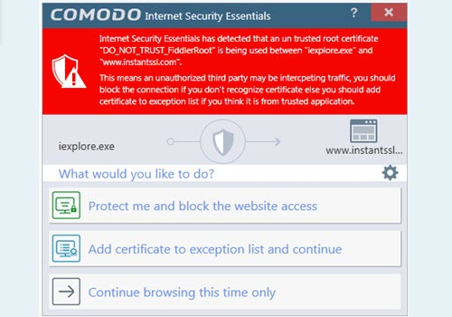 Capture d'écran Comodo Internet Security Essentials