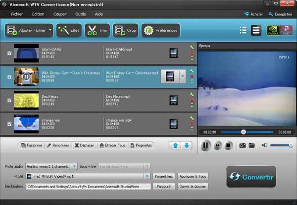 Capture d'écran Aiseesoft WTV Convertisseur