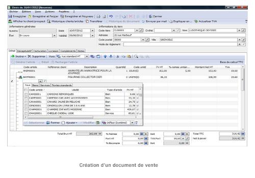 Capture d'écran EBP Gestion Commerciale Pro