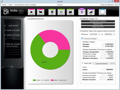 Capture d'écran InfoSCI – Gestion Compta SCI
