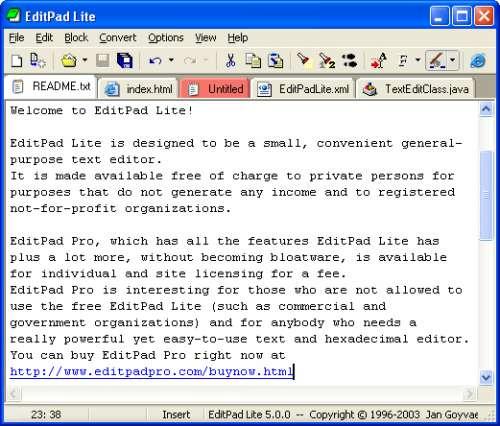 Capture d'écran EditPad Lite