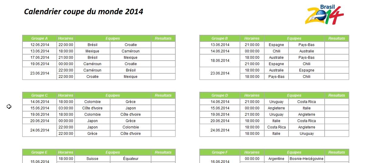 Capture d'écran dates et horaires des matchs de la coupe du monde 2014