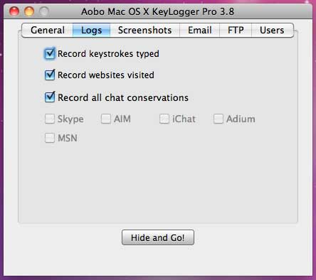 Capture d'écran Aobo Mac OS X Keylogger Standard