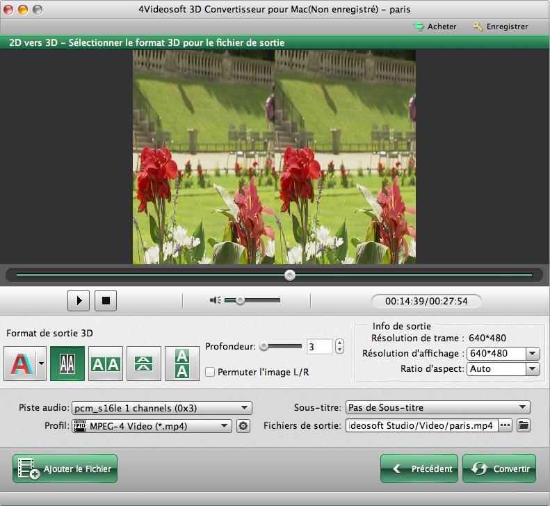 Capture d'écran 4Videosoft 3D Convertisseur pour Mac