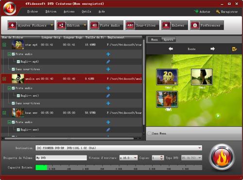 Capture d'écran 4Videosoft DVD Créateur
