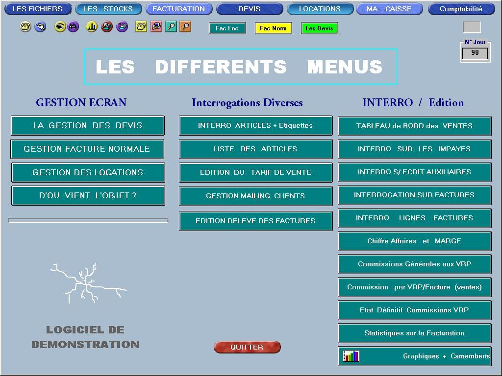 Capture d'écran LOCATION logiciel gestion locations et devis