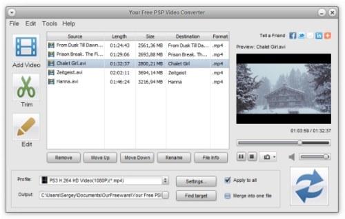 Capture d'écran Your Free PSP Video Converter