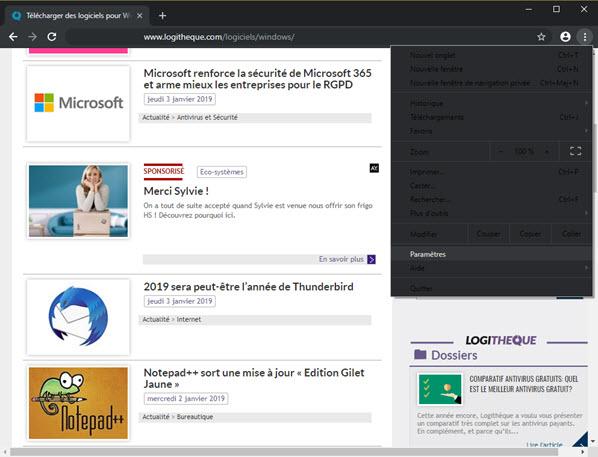 Capture d'écran Google Chrome Canary