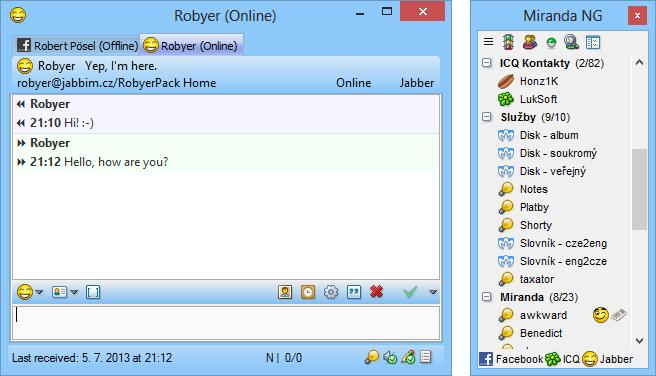 Capture d'écran Miranda Instant Messenger