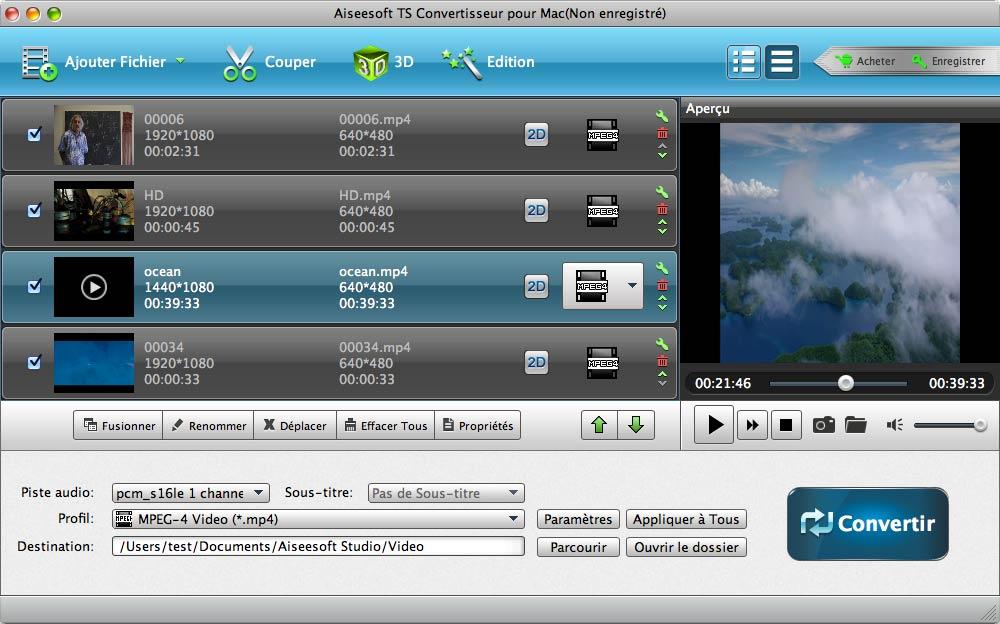 Capture d'écran Aiseesoft TS Convertisseur pour Mac