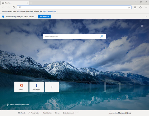 Capture d'écran Microsoft Edge Mac