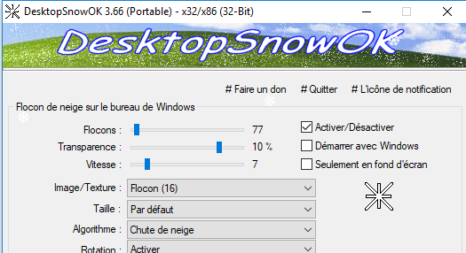 Capture d'écran Desktop Snow OK
