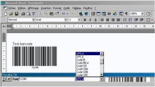 Capture d'écran Versabar impression codes barres